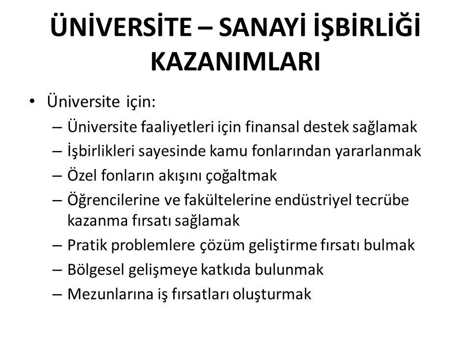 Üniversite için: – Üniversite faaliyetleri için finansal destek sağlamak – İşbirlikleri sayesinde kamu fonlarından yararlanmak – Özel fonların akışını