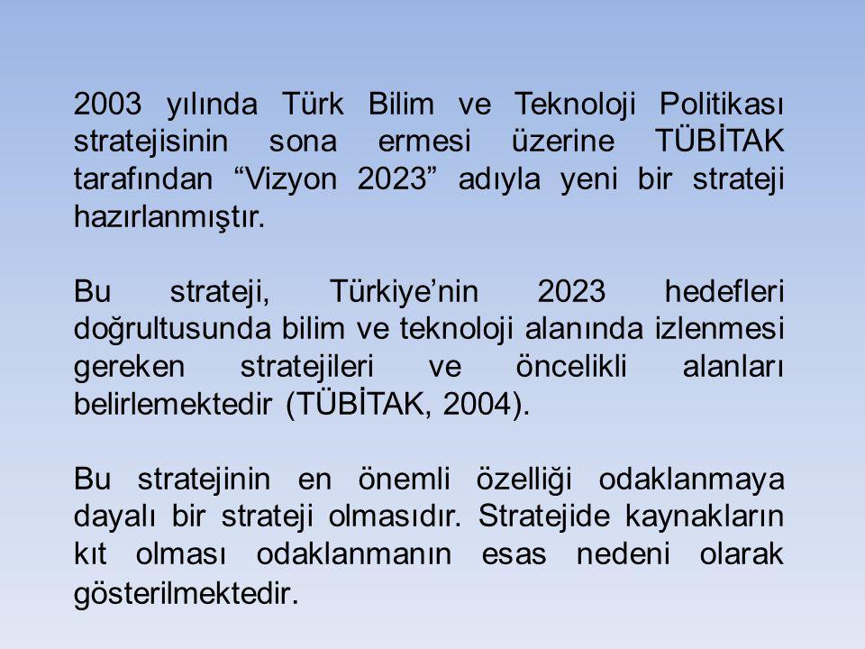 """2003 yılında Türk Bilim ve Teknoloji Politikası stratejisinin sona ermesi üzerine TÜBİTAK tarafından """"Vizyon 2023"""" adıyla yeni bir strateji hazırlanmı"""