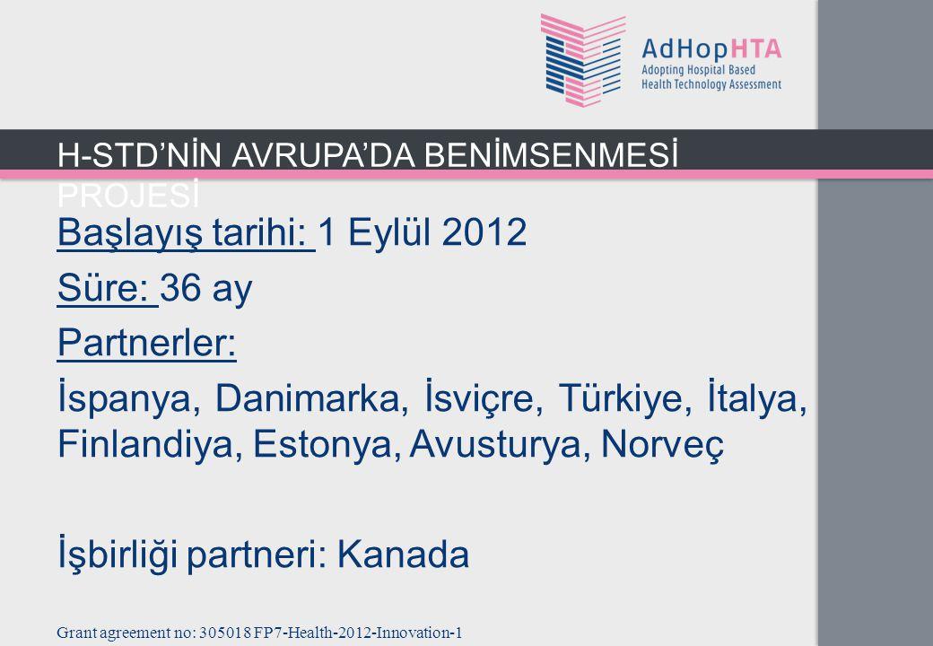 Başlayış tarihi: 1 Eylül 2012 Süre: 36 ay Partnerler: İspanya, Danimarka, İsviçre, Türkiye, İtalya, Finlandiya, Estonya, Avusturya, Norveç İşbirliği partneri: Kanada Grant agreement no: 305018 FP7-Health-2012-Innovation-1 H-STD'NİN AVRUPA'DA BENİMSENMESİ PROJESİ