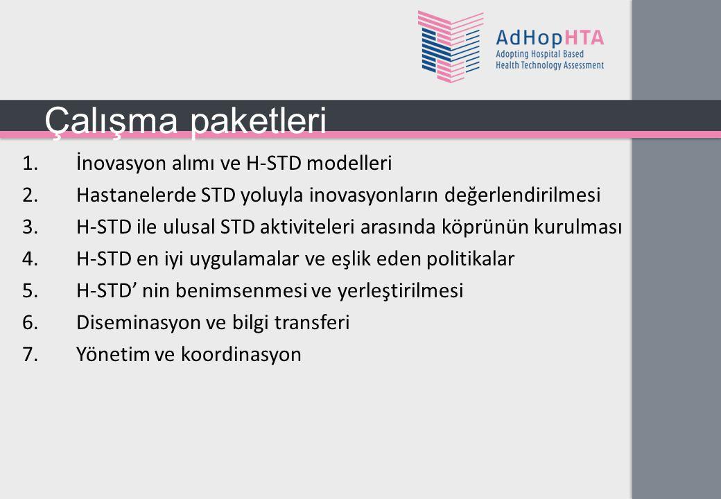 1.İnovasyon alımı ve H-STD modelleri 2.Hastanelerde STD yoluyla inovasyonların değerlendirilmesi 3.H-STD ile ulusal STD aktiviteleri arasında köprünün kurulması 4.H-STD en iyi uygulamalar ve eşlik eden politikalar 5.H-STD' nin benimsenmesi ve yerleştirilmesi 6.Diseminasyon ve bilgi transferi 7.Yönetim ve koordinasyon Çalışma paketleri