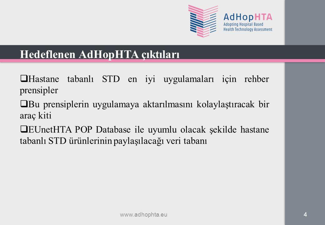  Hastane tabanlı STD en iyi uygulamaları için rehber prensipler  Bu prensiplerin uygulamaya aktarılmasını kolaylaştıracak bir araç kiti  EUnetHTA P
