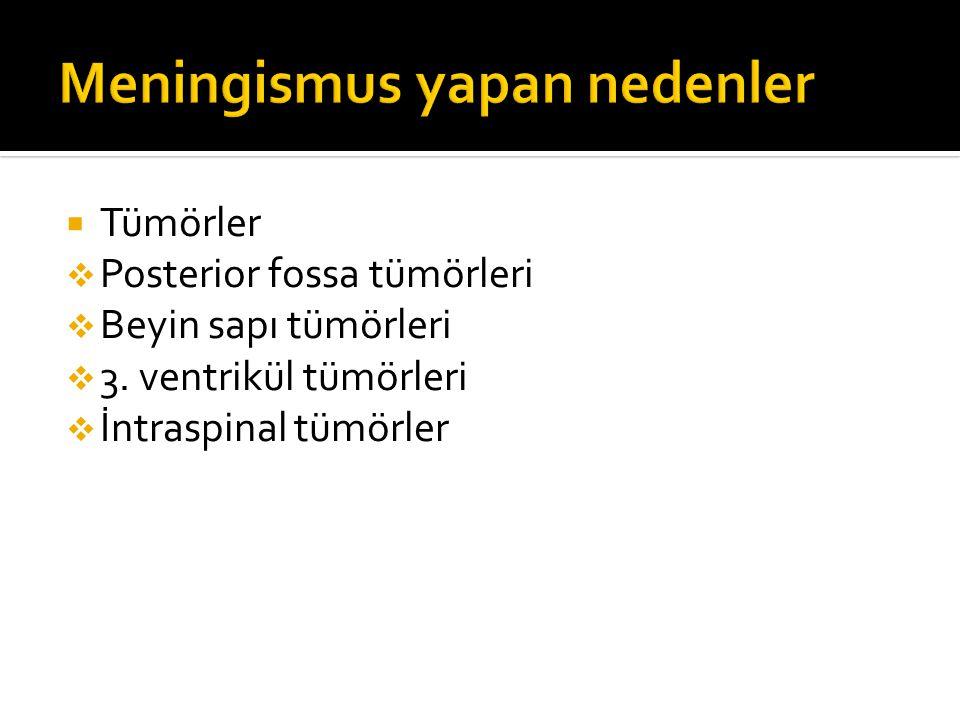 Tümörler  Posterior fossa tümörleri  Beyin sapı tümörleri  3. ventrikül tümörleri  İntraspinal tümörler