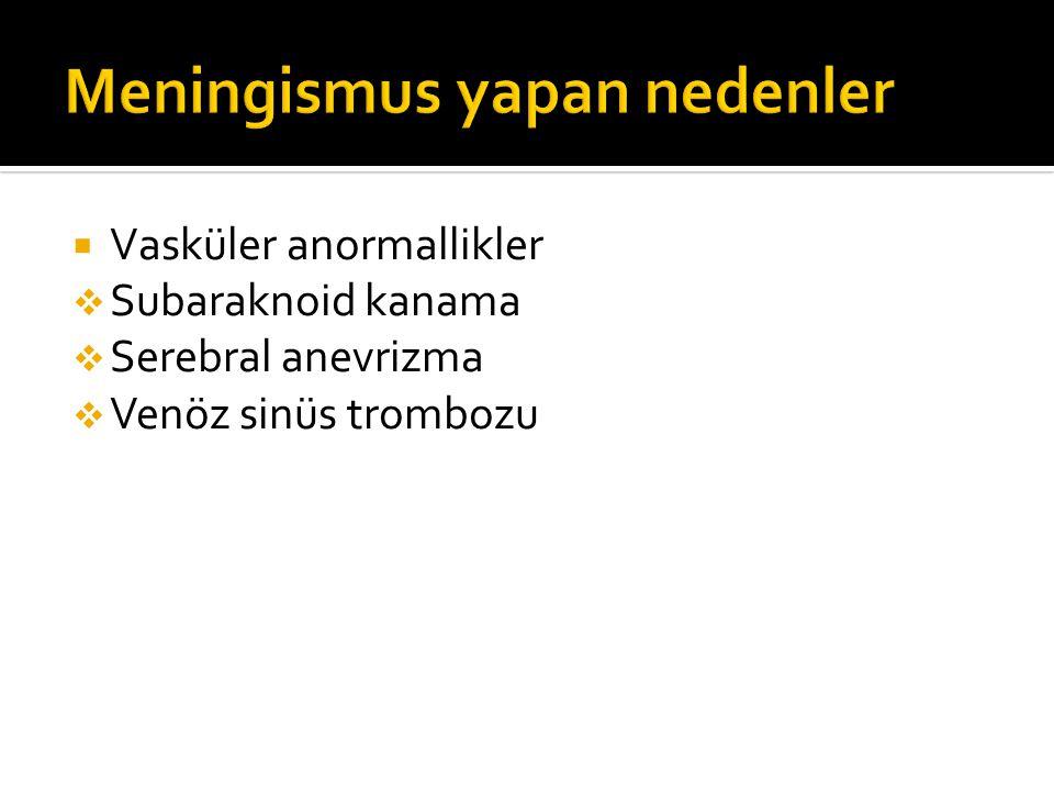  Vasküler anormallikler  Subaraknoid kanama  Serebral anevrizma  Venöz sinüs trombozu
