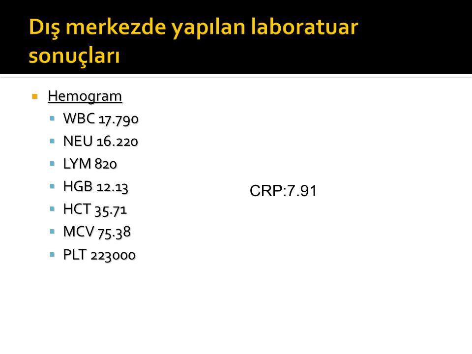  Hemogram  WBC 17.790  NEU 16.220  LYM 820  HGB 12.13  HCT 35.71  MCV 75.38  PLT 223000 CRP:7.91