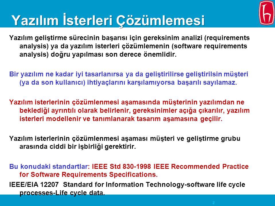 2 Yazılım İsterleri Çözümlemesi Yazılım geliştirme sürecinin başarısı için gereksinim analizi (requirements analysis) ya da yazılım isterleri çözümlem