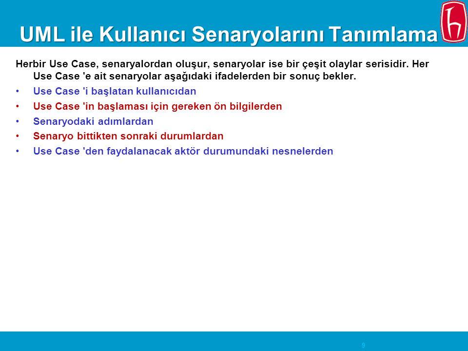 9 UML ile Kullanıcı Senaryolarını Tanımlama Herbir Use Case, senaryalordan oluşur, senaryolar ise bir çeşit olaylar serisidir. Her Use Case 'e ait sen