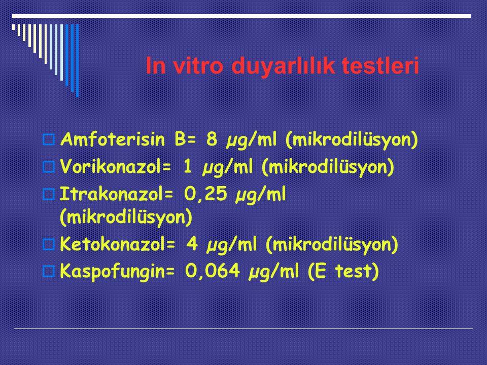 In vitro duyarlılık testleri  Amfoterisin B= 8 µg/ml (mikrodilüsyon)  Vorikonazol= 1 µg/ml (mikrodilüsyon)  Itrakonazol= 0,25 µg/ml (mikrodilüsyon)  Ketokonazol= 4 µg/ml (mikrodilüsyon)  Kaspofungin= 0,064 µg/ml (E test)