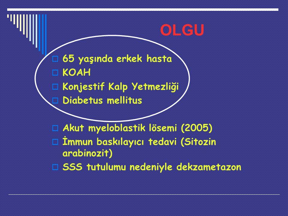 OLGU  65 yaşında erkek hasta  KOAH  Konjestif Kalp Yetmezliği  Diabetus mellitus  Akut myeloblastik lösemi (2005)  İmmun baskılayıcı tedavi (Sitozin arabinozit)  SSS tutulumu nedeniyle dekzametazon