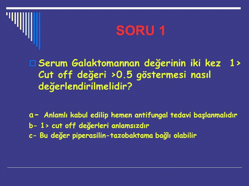 SORU 1  Serum Galaktomannan değerinin iki kez 1> Cut off değeri >0.5 göstermesi nasıl değerlendirilmelidir? a - Anlamlı kabul edilip hemen antifungal