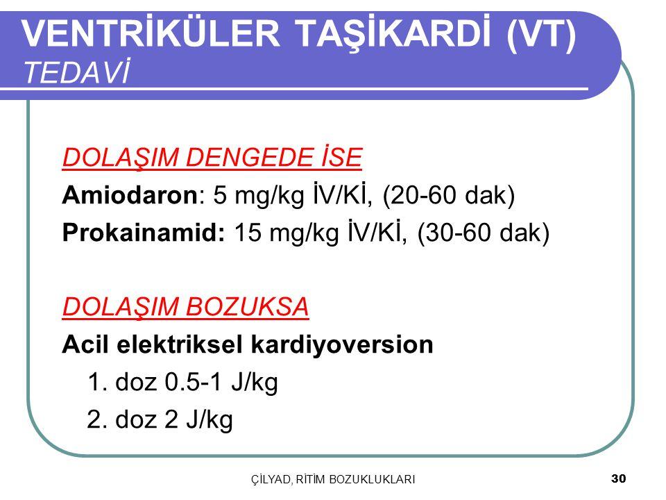 ÇİLYAD, RİTİM BOZUKLUKLARI 30 VENTRİKÜLER TAŞİKARDİ (VT) TEDAVİ DOLAŞIM DENGEDE İSE Amiodaron: 5 mg/kg İV/Kİ, (20-60 dak) Prokainamid: 15 mg/kg İV/Kİ,