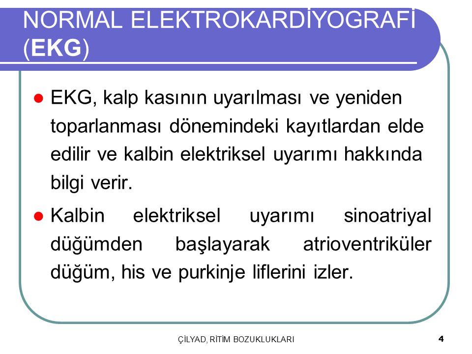 ÇİLYAD, RİTİM BOZUKLUKLARI 4 NORMAL ELEKTROKARDİYOGRAFİ (EKG) EKG, kalp kasının uyarılması ve yeniden toparlanması dönemindeki kayıtlardan elde edilir