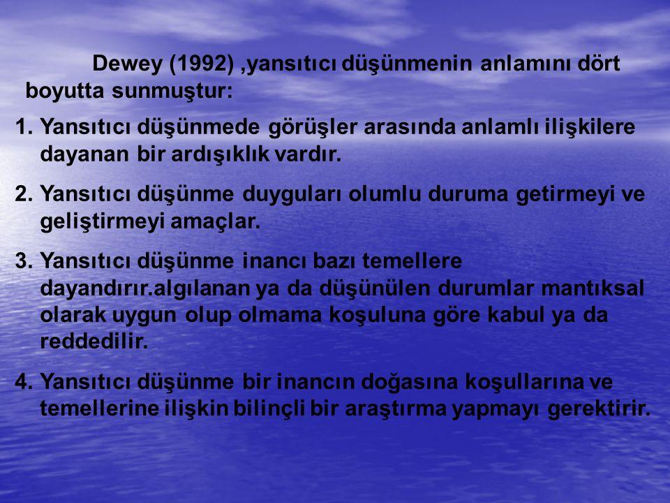 Dewey (1992),yansıtıcı düşünmenin anlamını dört boyutta sunmuştur: 1.Yansıtıcı düşünmede görüşler arasında anlamlı ilişkilere dayanan bir ardışıklık vardır.