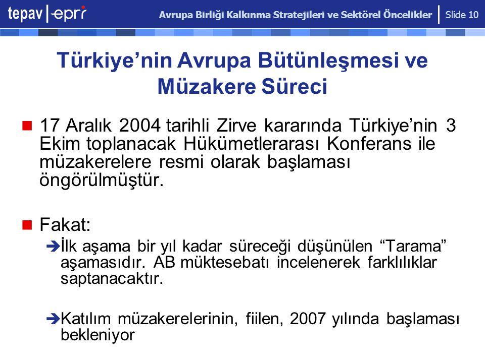 Avrupa Birliği Kalkınma Stratejileri ve Sektörel Öncelikler Slide 10 Türkiye'nin Avrupa Bütünleşmesi ve Müzakere Süreci 17 Aralık 2004 tarihli Zirve k