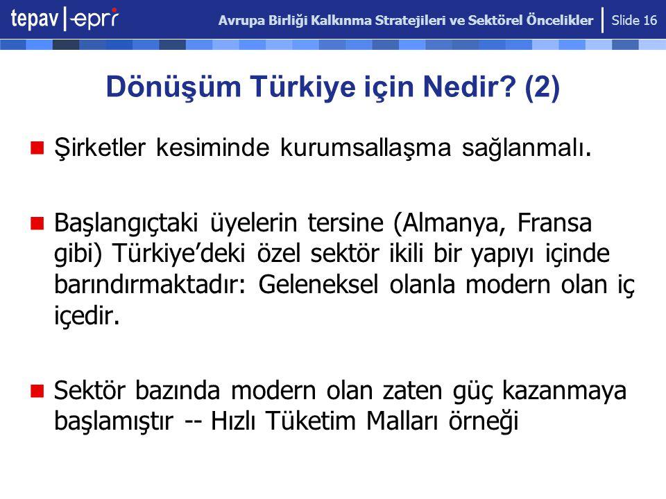 Avrupa Birliği Kalkınma Stratejileri ve Sektörel Öncelikler Slide 16 Dönüşüm Türkiye için Nedir? (2) Şirketler kesiminde kurumsallaşma sağlanmalı. Baş