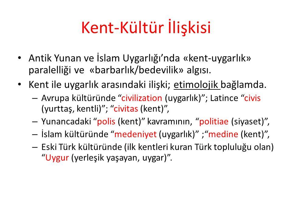 Kent-Kültür İlişkisi Antik Yunan ve İslam Uygarlığı'nda «kent-uygarlık» paralelliği ve «barbarlık/bedevilik» algısı. Kent ile uygarlık arasındaki iliş