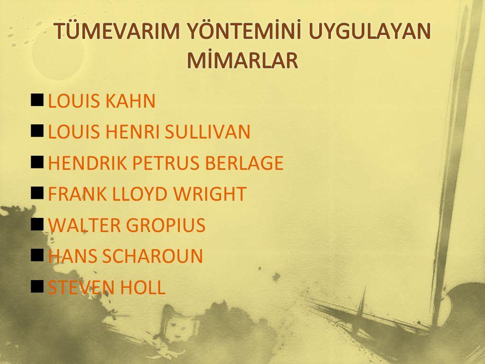 LOUIS KAHN LOUIS HENRI SULLIVAN HENDRIK PETRUS BERLAGE FRANK LLOYD WRIGHT WALTER GROPIUS HANS SCHAROUN STEVEN HOLL
