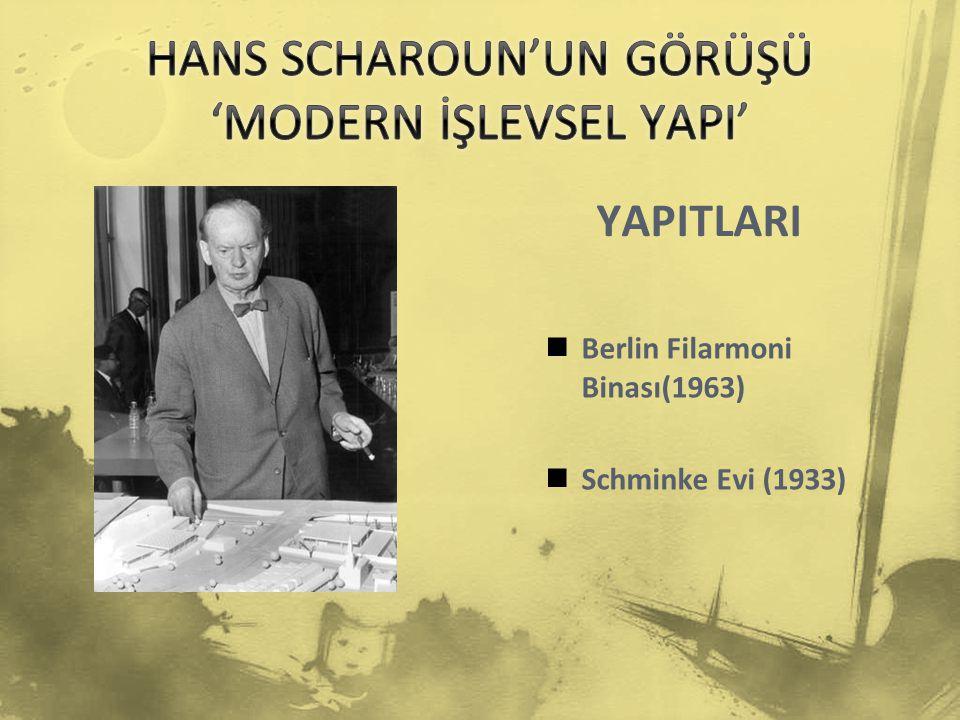 YAPITLARI Berlin Filarmoni Binası(1963) Schminke Evi (1933)