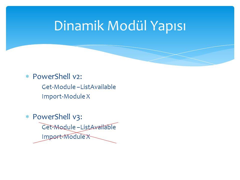  PowerShell v2: Get-Module –ListAvailable Import-Module X  PowerShell v3: Get-Module –ListAvailable Import-Module X Dinamik Modül Yapısı