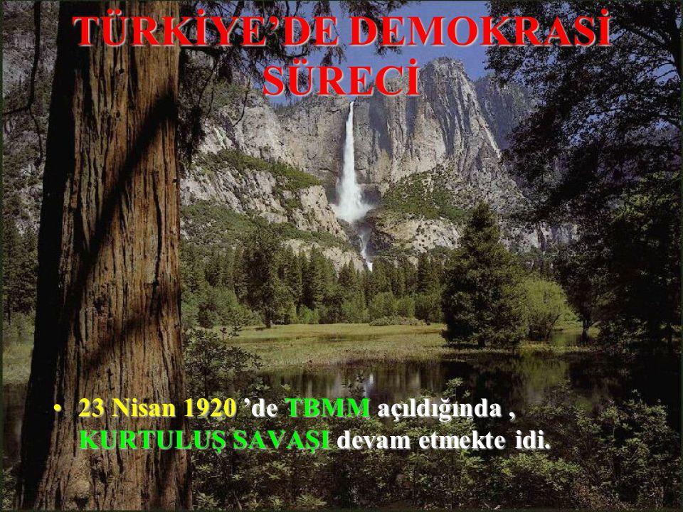 TÜRKİYE'DE DEMOKRASİ SÜRECİ 2323 Nisan 1920 1920 'de TBMM TBMM açıldığında, KURTULUŞ SAVAŞI SAVAŞI devam etmekte idi.