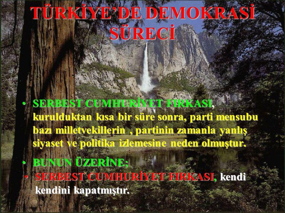 TÜRKİYE'DE DEMOKRASİ SÜRECİ SERBESTSERBEST CUMHURİYET FIRKASI, kurulduktan kısa bir süre sonra, parti mensubu bazı milletvekillerin, partinin zamanla yanlış siyaset ve politika izlemesine neden olmuştur.