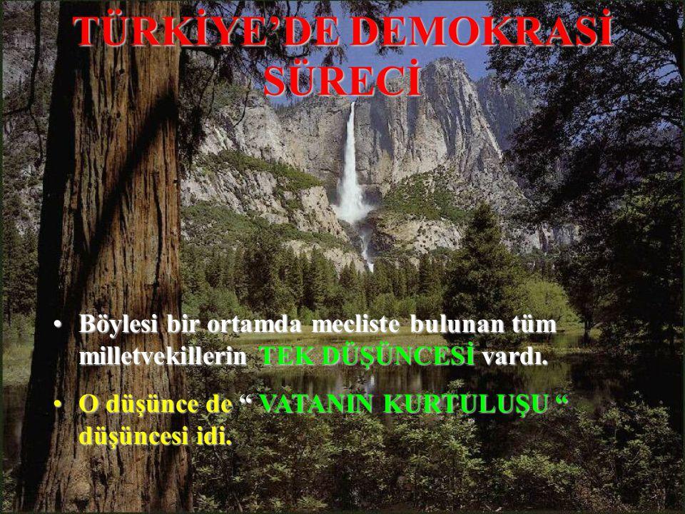 TÜRKİYE'DE DEMOKRASİ SÜRECİ BöylesiBöylesi bir ortamda mecliste bulunan tüm milletvekillerin milletvekillerin TEK DÜŞÜNCESİ DÜŞÜNCESİ vardı.