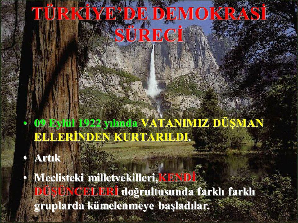 TÜRKİYE'DE DEMOKRASİ SÜRECİ 0909 Eylül 1922 1922 yılında yılında VATANIMIZ DÜŞMAN ELLERİNDEN KURTARILDI.