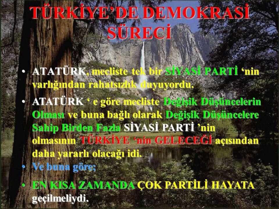 TÜRKİYE'DE DEMOKRASİ SÜRECİ ATATÜRK,ATATÜRK, mecliste tek bir SİYASİ PARTİ PARTİ 'nin varlığından rahatsızlık duyuyordu.