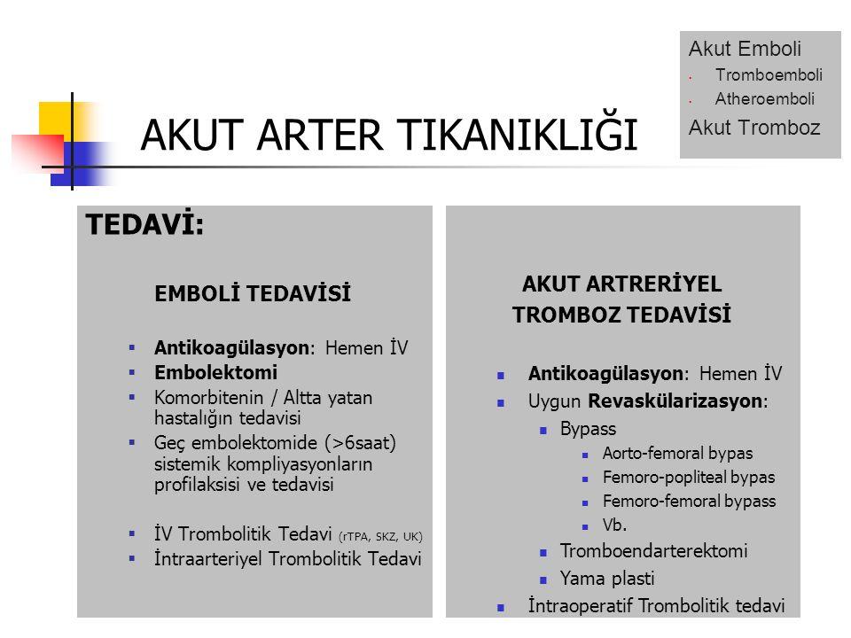 TEDAVİ: EMBOLİ TEDAVİSİ  Antikoagülasyon: Hemen İV  Embolektomi  Komorbitenin / Altta yatan hastalığın tedavisi  Geç embolektomide (>6saat) sistemik kompliyasyonların profilaksisi ve tedavisi  İV Trombolitik Tedavi (rTPA, SKZ, UK)  İntraarteriyel Trombolitik Tedavi AKUT ARTRERİYEL TROMBOZ TEDAVİSİ Antikoagülasyon: Hemen İV Uygun Revaskülarizasyon: Bypass Aorto-femoral bypas Femoro-popliteal bypas Femoro-femoral bypass Vb.