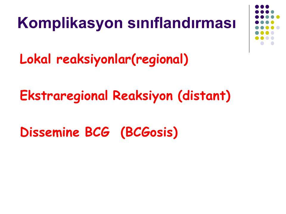Komplikasyon sınıflandırması Lokal reaksiyonlar(regional) Ekstraregional Reaksiyon (distant) Dissemine BCG (BCGosis)