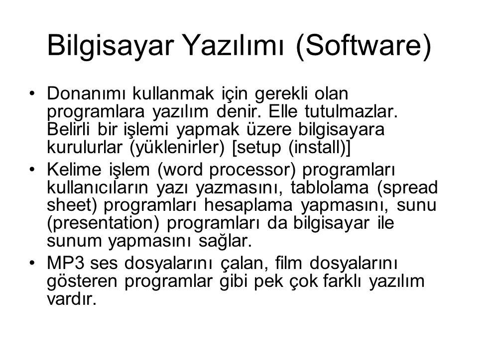 Bilgisayar Yazılımı (Software) Donanımı kullanmak için gerekli olan programlara yazılım denir. Elle tutulmazlar. Belirli bir işlemi yapmak üzere bilgi