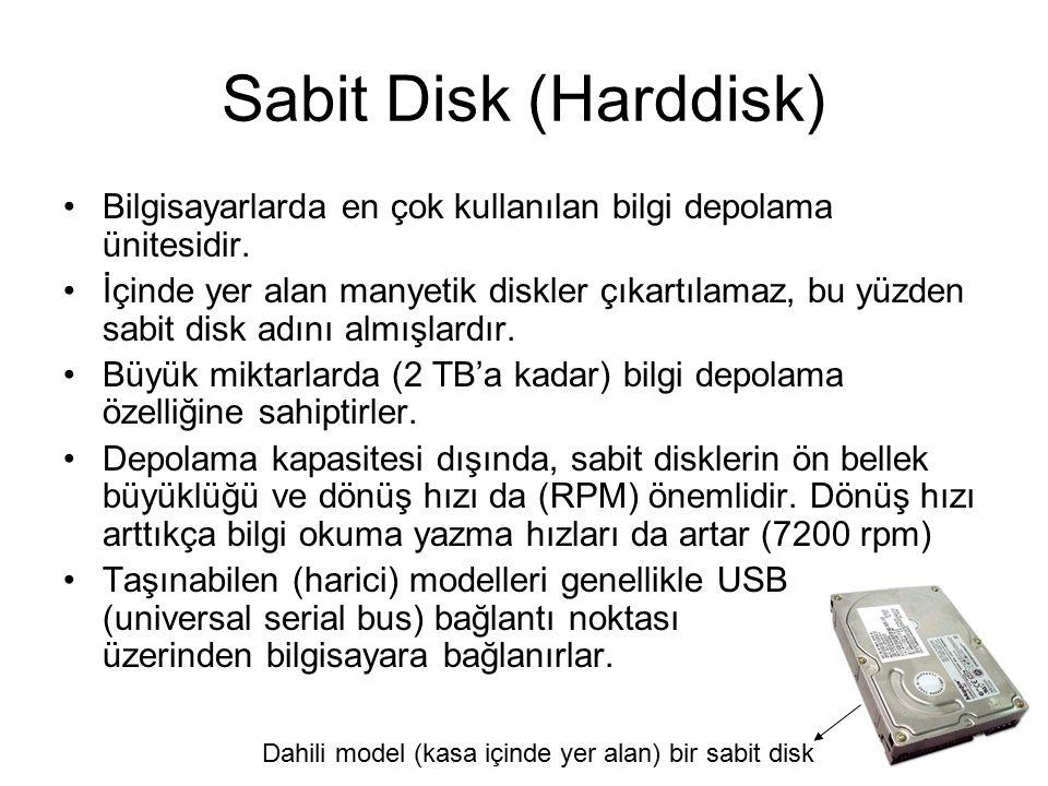 Sabit Disklerin Yapısı Sabit disk,vakumlu (havası alınmış ve sürtünmenin en aza indirildiği) bir metal kutu içerisine yerleştirilmiş bir veya daha çok sayıda üzeri manyetik olarak yazılabilen bir film kaplı alüminyum disklerden oluşur.