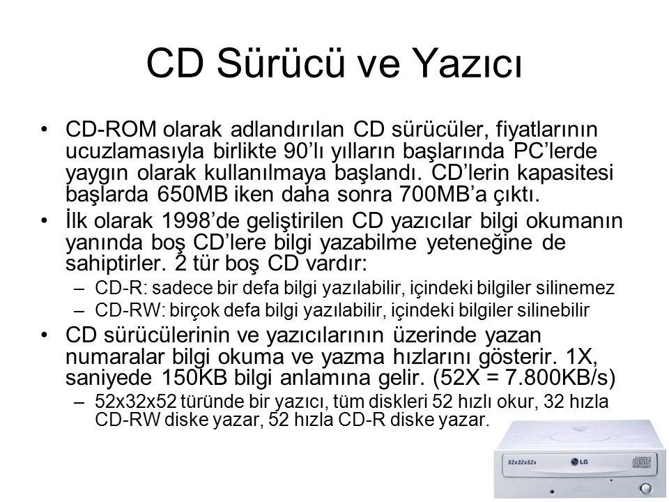 CD Sürücü ve Yazıcı CD-ROM olarak adlandırılan CD sürücüler, fiyatlarının ucuzlamasıyla birlikte 90'lı yılların başlarında PC'lerde yaygın olarak kull