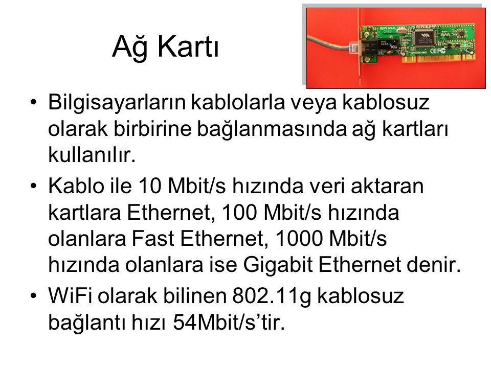 Ağ Kartı Bilgisayarların kablolarla veya kablosuz olarak birbirine bağlanmasında ağ kartları kullanılır. Kablo ile 10 Mbit/s hızında veri aktaran kart