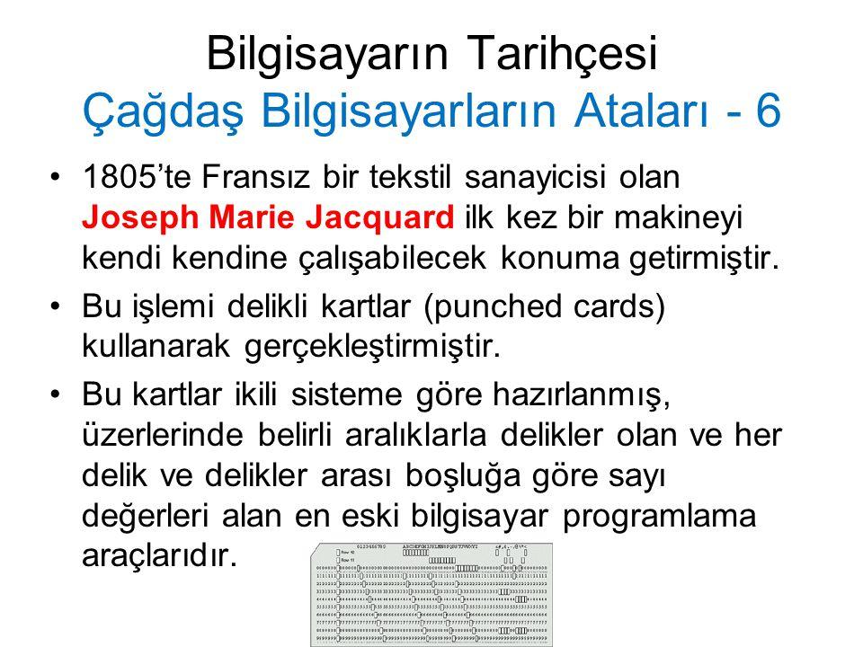Bilgisayarın Tarihçesi Çağdaş Bilgisayarların Ataları - 6 Jacquard'ın delikli kartlar ile çalışan programlanabilir dokuma tezgahı