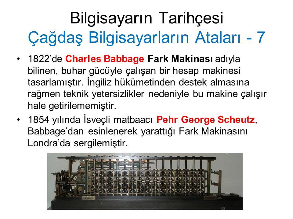 Bilgisayarın Tarihçesi Çağdaş Bilgisayarların Ataları - 8 Charles Babbage 1830'larda Analitik Makina olarak adlandırdığı, buhar enerjisiyle çalışacak, dişlilerden, sayaçlardan ve bağlayıcılardan meydana gelecek, delikli kartlar yardımıyla denetlenecek bir makine daha tasarladı.