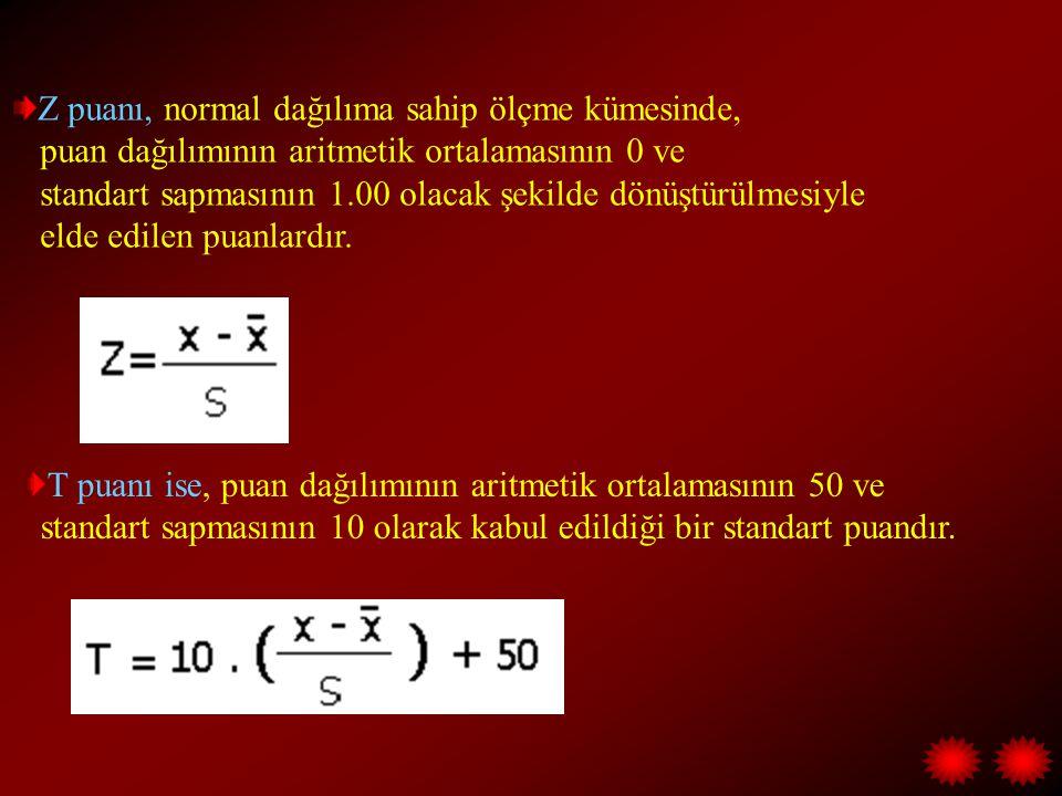 Z puanı, normal dağılıma sahip ölçme kümesinde, puan dağılımının aritmetik ortalamasının 0 ve standart sapmasının 1.00 olacak şekilde dönüştürülmesiyle elde edilen puanlardır.