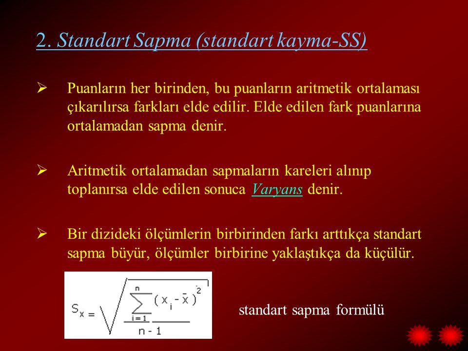 2. Standart Sapma (standart kayma-SS)  Puanların her birinden, bu puanların aritmetik ortalaması çıkarılırsa farkları elde edilir. Elde edilen fark p
