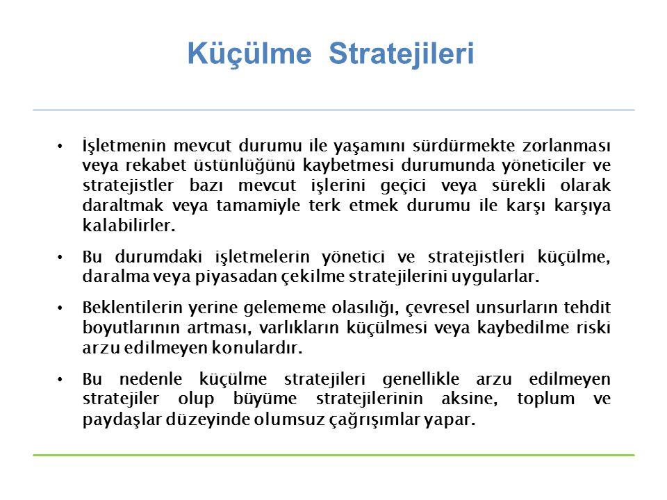 Küçülme Stratejileri İşletmenin mevcut durumu ile yaşamını sürdürmekte zorlanması veya rekabet üstünlüğünü kaybetmesi durumunda yöneticiler ve stratej