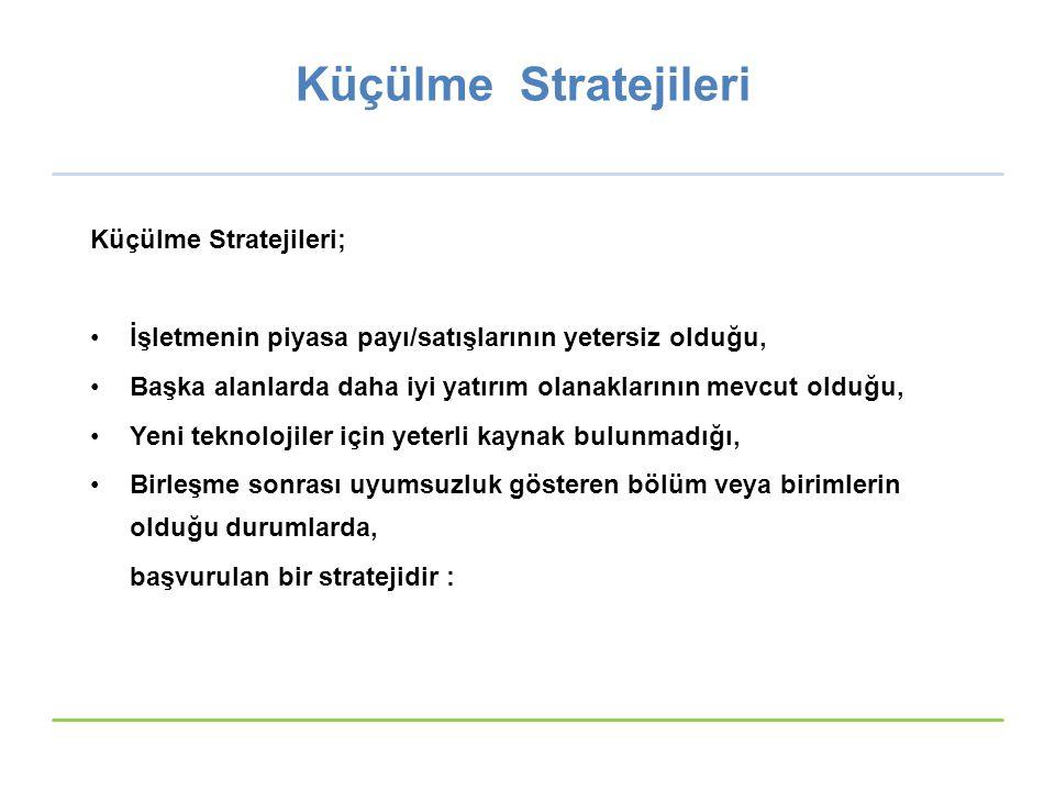 Küçülme Stratejileri Küçülme Stratejileri; İşletmenin piyasa payı/satışlarının yetersiz olduğu, Başka alanlarda daha iyi yatırım olanaklarının mevcut olduğu, Yeni teknolojiler için yeterli kaynak bulunmadığı, Birleşme sonrası uyumsuzluk gösteren bölüm veya birimlerin olduğu durumlarda, başvurulan bir stratejidir : © Ülgen&Mirze 2004