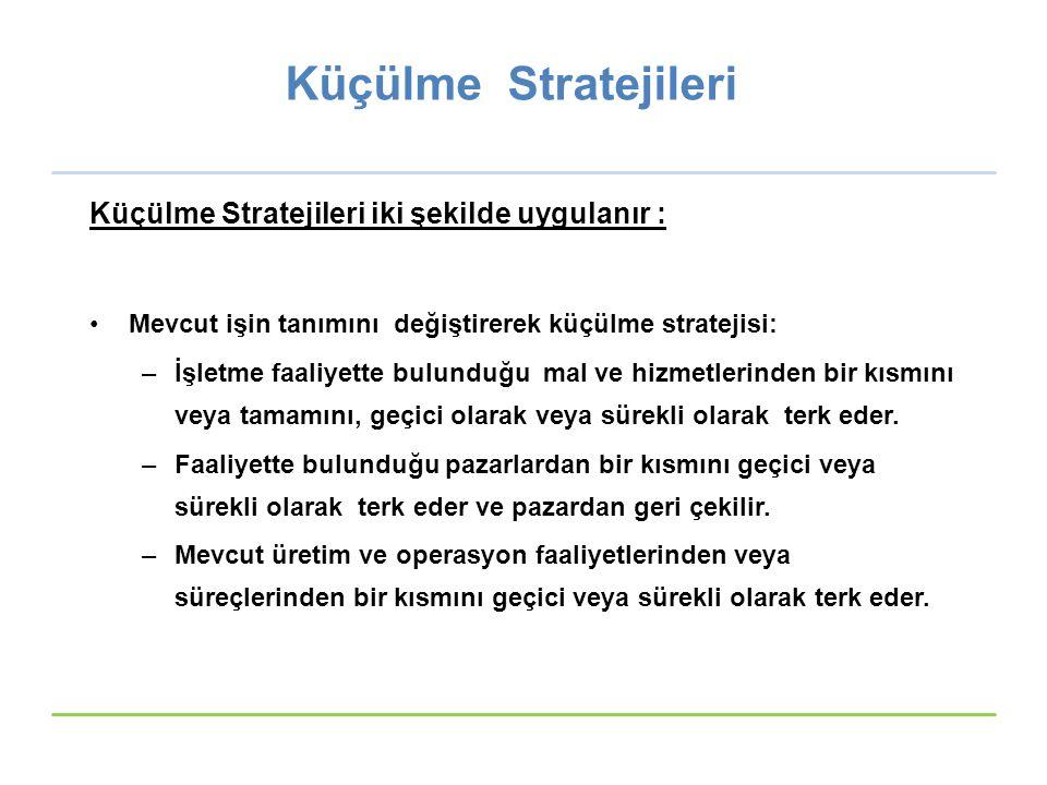 Küçülme Stratejileri Küçülme Stratejileri iki şekilde uygulanır : Mevcut işin tanımını değiştirerek küçülme stratejisi: –İşletme faaliyette bulunduğu