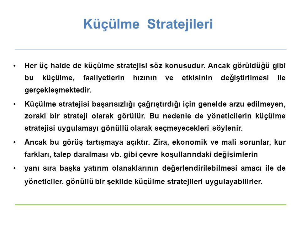 Küçülme Stratejileri Her üç halde de küçülme stratejisi söz konusudur.