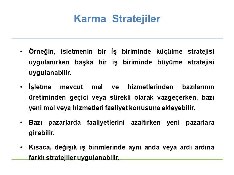 Karma Stratejiler Örneğin, işletmenin bir İş biriminde küçülme stratejisi uygulanırken başka bir iş biriminde büyüme stratejisi uygulanabilir. İşletme
