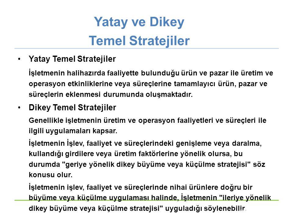 Yatay ve Dikey Temel Stratejiler Yatay Temel Stratejiler İşletmenin halihazırda faaliyette bulunduğu ürün ve pazar ile üretim ve operasyon etkinlikler