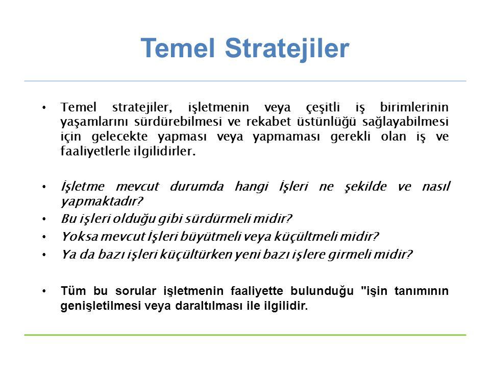 Temel Stratejiler Temel stratejiler, işletmenin veya çeşitli iş birimlerinin yaşamlarını sürdürebilmesi ve rekabet üstünlüğü sağlayabilmesi için gelecekte yapması veya yapmaması gerekli olan iş ve faaliyetlerle ilgilidirler.