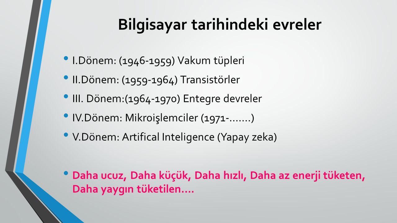 Bilgisayar tarihindeki evreler I.Dönem: (1946-1959) Vakum tüpleri II.Dönem: (1959-1964) Transistörler III. Dönem:(1964-1970) Entegre devreler IV.Dönem
