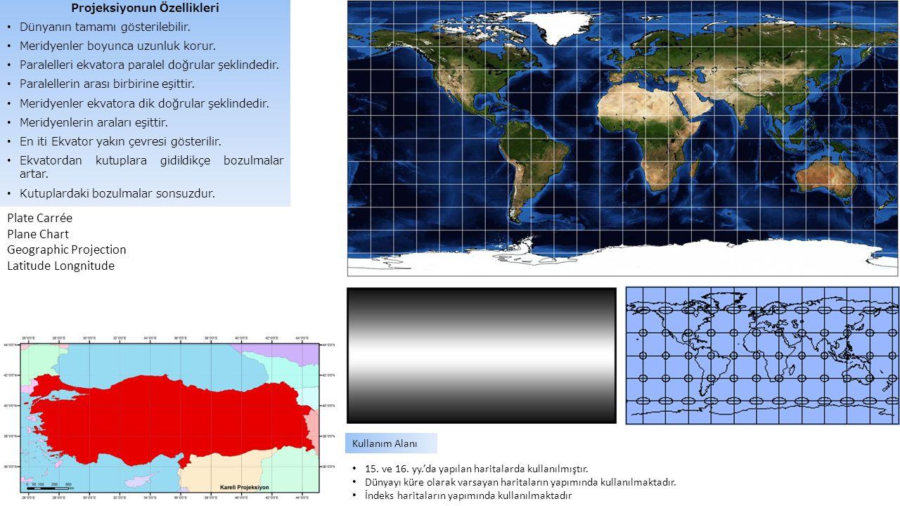 Plate Carrée Plane Chart Geographic Projection Latitude Longnitude 15. ve 16. yy.'da yapılan haritalarda kullanılmıştır. Dünyayı küre olarak varsayan