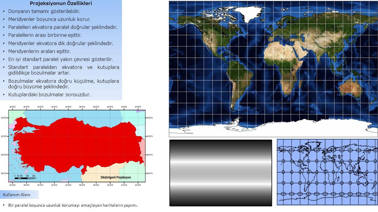 Projeksiyonun Özellikleri Dünyanın tamamı gösterilebilir. Meridyenler boyunca uzunluk korur. Paralelleri ekvatora paralel doğrular şeklindedir. Parale