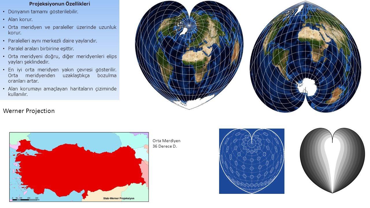 Projeksiyonun Özellikleri Dünyanın tamamı gösterilebilir. Alan korur. Orta meridyen ve paraleller üzerinde uzunluk korur. Paralelleri aynı merkezli da