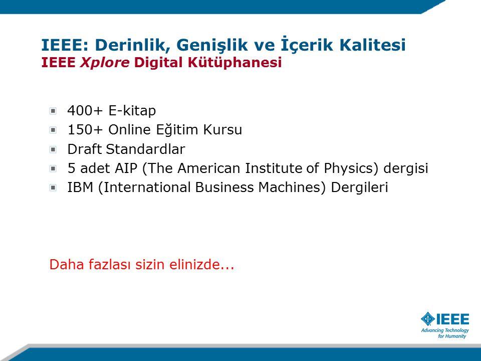 400+ E-kitap 150+ Online Eğitim Kursu Draft Standardlar 5 adet AIP (The American Institute of Physics) dergisi IBM (International Business Machines) Dergileri Daha fazlası sizin elinizde...