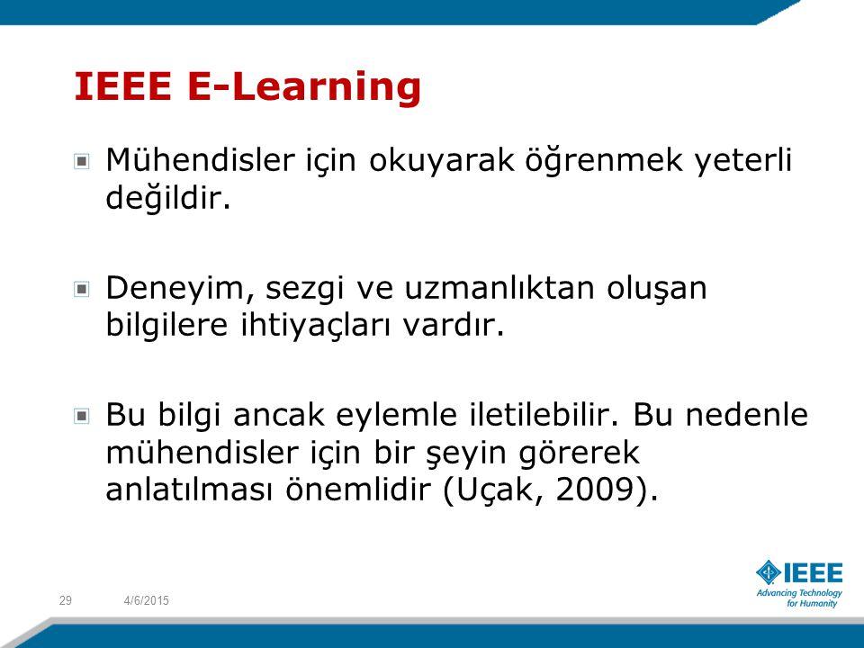 IEEE E-Learning Mühendisler için okuyarak öğrenmek yeterli değildir.